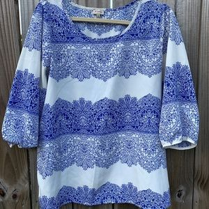 White and Blue Patterned Blouse